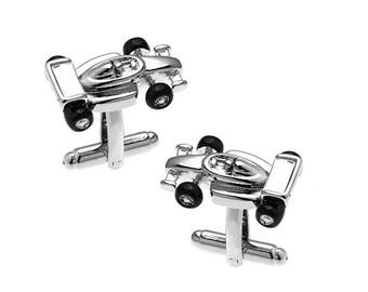 Formula 1 Race Car Cufflinks Antique Silver Tone Finish 3D Detailed Indy Car Fun Cool Unique Design Cuff Links Comes with Gift Box