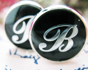 B Cufflinks Silver Round Black Enamel Initial Script Letters B Cuff Links Groom Father Bride Wedding Anniversary Day Comes with Gift Box