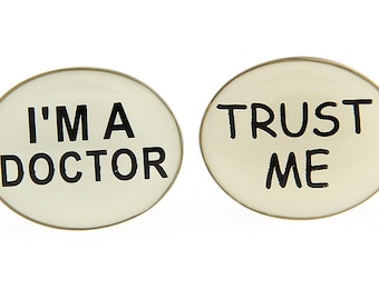 Trust me I am a Doctor Cufflinks White Enamel Business Cuff Links White Elephant Gifts