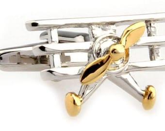 Silver Gold Tri Plane Novelty Cufflinks Cuff Links Airplane Pilot Air Force