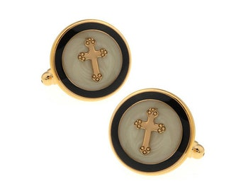 Cross Cufflinks Round Gold Enamel Religious Cross Christian Cuff Links