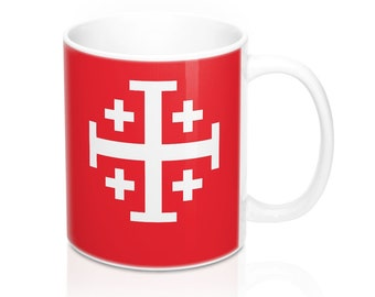 Jerusalem Cross Coffee Mug 11oz Christian Faith Crusader Cross Religious Ceramic Cup Gospel Greek Crosses Red Holy Father Coffee Cup