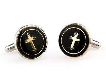 Round Silver and Black Worship Religious Cross Cufflinks Cuff Links