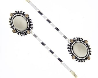 Silver Light Topaz Color Crystal And Ivory Bobby Pins, Hair Pin