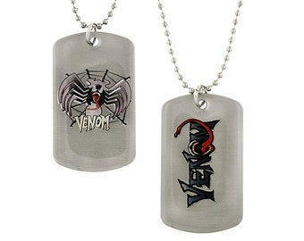 Dog Tag Marvel Comics Venom in Spider Silhouette Spiderman Double Sided Dog Tag Anti Hero Halloween Necklace vintage jewelry