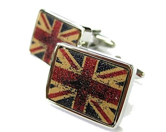 Union Jack Distressed Cufflinks UK England London British Flag Cuff Links War Torn