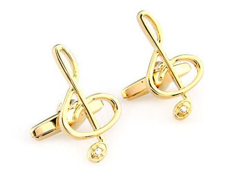 Gold Enamel Music Note with Crystal Cufflinks Cuff Links