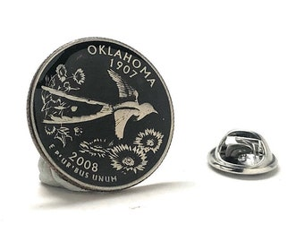 Enamel Pin Hand Painted Oklahoma State Quarter Black Enamel Coin Lapel Pin Collector Pin Tie Tack Travel Souvenir Coins Keepsakes Cool Fun B