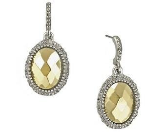 Antique Gold Silver Statement Earrings Oval Faceted Drop Earrings Silk Road Jewelry