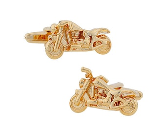 Gold Tone 3-D Motorcycle Cufflinks Easy Rider Hog Motorbike Cuff Links
