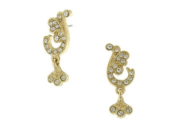 Classic Earrings Crystal Pave French Scroll Leaf Post Earrings Valentine Day Gift
