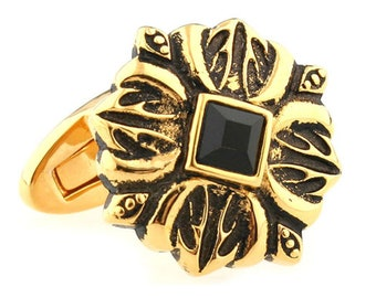 Rustic Gold Flowering Cross with Black Crystal Center Cufflinks Cuff Links
