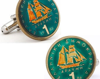 Enamel Cufflinks Hand Painted Greek Enamel Coin Jewelry Cuff Links Grecian World Travel Souvenir Very Cool Rare Vintage Comes with Gift Box