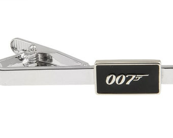 Super Spy Black Enamel Classic Mens Tie Clip Tie Bar Silver Tone Very Cool Comes with Gift Box