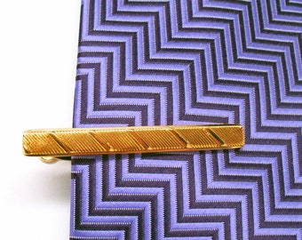 Tie Clip Bright Rose Gold Tone Double Mixed Metals Classic Tie Bar Dress Tie Clip