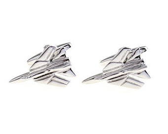 Silver Jet Fighter Aircraft Military Cufflinks Airliner Flight Pilot Aviator Silver Tone Airplane Cuff Links Gifts for Him Captain