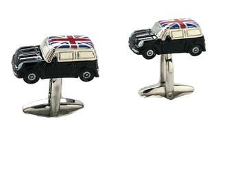 Union Jack mini Cufflinks Classic Car Cufflinks British Flag UK Black Enamel 3D Detailed Design Cuff Links Gifts for Boyfriend Gifts for Dad