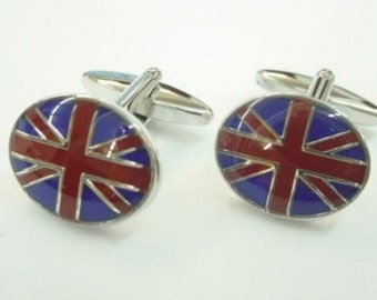 British Flag Cufflinks Round English Flag Cufflinks UK Flag Cuff Links