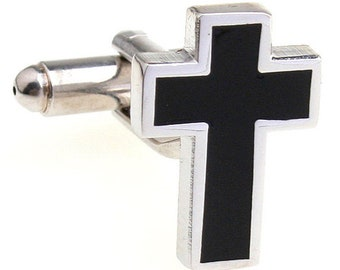 Silver with  Black Simple Cross Religious Cross Cufflinks Cuff Links