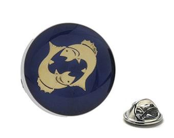 Pisces Zodiac Enamel Pin Astrology Gifts, Blue Lapel Pin