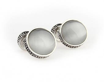 Rome Greek Cream Cufflinks Tile Silver Tone Double Ended Caps Dome Straight Solid Post Cuff Links Comes with Box