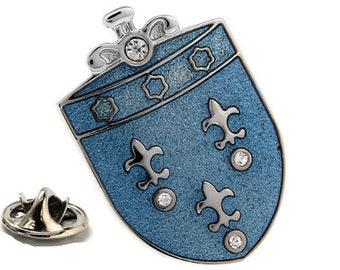 Enamel Pin Sky Blue Royality Fleur De Lis Crest Shield Lapel Pin Tie Tack