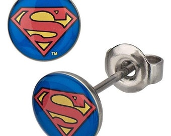 Earrings Superman Red Yellow Blue Tiny Stud Earrings Stainless Steel Post Superhero Collection Jewelry