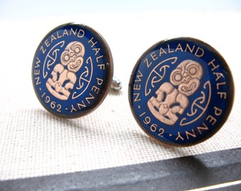 Enamel Cufflinks New Zealand Tribal Pacific Australia Cuff Links Native Island Half Penny Enamel Coin Jewelry Currency Comes with Gift Box