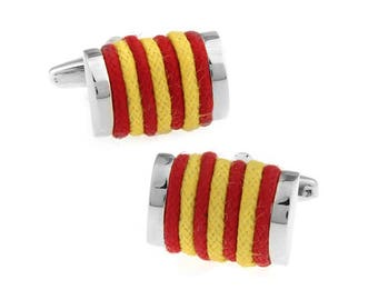 Yellow Red Rope Cufflinks Classic Cuffs Very Cool Fun Unique Cuff Links Comes with Gift Box