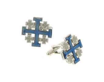 Silver with Blue Enamel Jerusalem Cross Cufflinks  Religious Collection Faith Cross Cuff Links