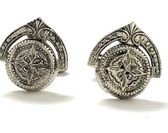 Persian Starlight Crown Cufflinks Silver Tone Cuff Links