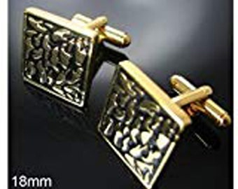 Gold and Black Nuggets Classic Cufflinks Cuff Links Wedding Valentines Day Gift