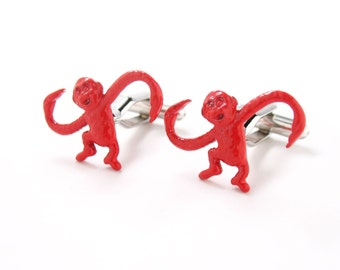 Red Monkey Cufflinks Animals Classic Game Fun Cuff Links Very Unique The Coolest Gift Out there Cuff Links