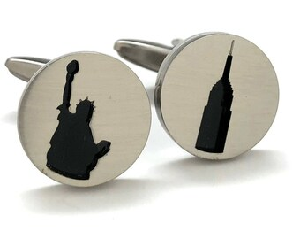 New York City Cufflinks Celebrating NY Empire State Building Statue of Liberty NYC Pride Cuff Links