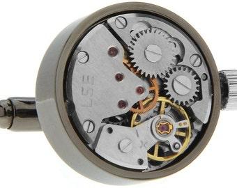 Steampunk Watch Cufflinks Vintage Black Satin Circular Gears Movement Functional Cuff Links