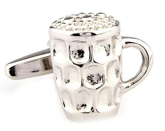 Silver Pub Mug Cufflinks Ice Cold Beer Ale Alcohol Party Good Times Cuff Links Cool Fun 3D Design Detailed Comes Gift Box