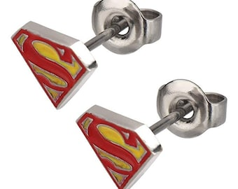 Earrings Superman Red and Yellow Shield Stud Earrings Superhero Collection Jewelry Super man