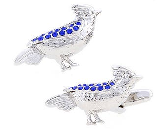 Montana Blue Bird Crystals Cufflinks Silver Tone and Enamel Cool Cuff Links Comes with Box