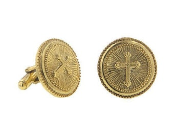 Gold Cross Round Cuff Links Etched Religious Collection Faith Cufflinks