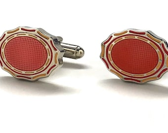 Oval Kingdom Cufflinks Amber Orange Relief Intricate Design Cool Cuff Links Comes with Gift Box