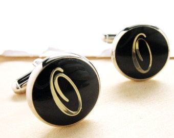 O Cufflinks Silver Toned Round Black Enamel Script Letters Personalized Wedding Cuff Links Gift Box Father's Day Marriage Anniversary