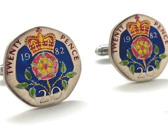 Enamel Cufflinks British Coin Jewelry Royal Crown Blue Hand Painted England Jewelry World Cuff Links Twenty Pence Enamel Coin
