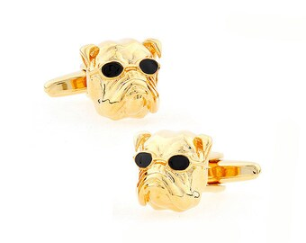 Dog Cufflinks, Gold