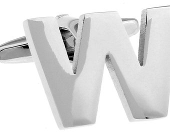 W Initial Cufflinks Silver 3-D Letter Block W English Letters Cuff Links Groom Father of the Bride Wedding Father's Day Gift Box