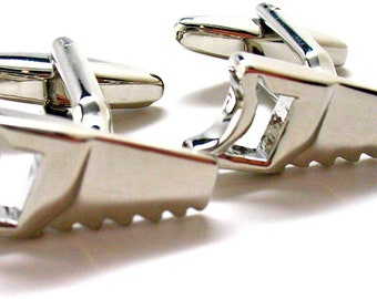 Saw Cufflinks Building a Nation House Builder Construction Cuff Links Comes with Gift Box