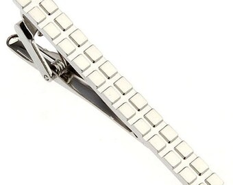 Houston Designer Silver Block Pattern Tie Clip Tie Bar Silver Tone Very Cool Comes with Gift Box