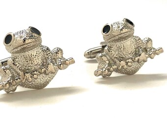 Tree Frog Cufflinks Silver Tone Big Fun Amazon Frog Cuff Links