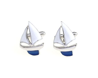 Sailboat Cufflinks Silver Tone White and Blue Enamel Sailing Boat Ocean Cuff Links Sail Seas Popular Jewelry