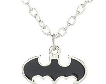 Batman Necklace Sign of the Bat Dark Knight  Black Bat Necklace Silk Road Jewelry
