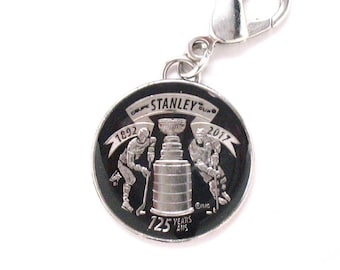 Hand Painted Key Chain NHL Ice Hockey Stanley Cup Trophy Winner 2017 Canadian Mint Quarter Commemorative 125 Yr Celebration Gift Box